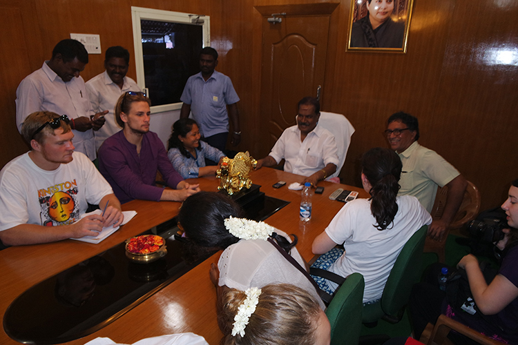 STEM MBA students meet with the ward leader for  the middle class neighborhoods of Chennai.